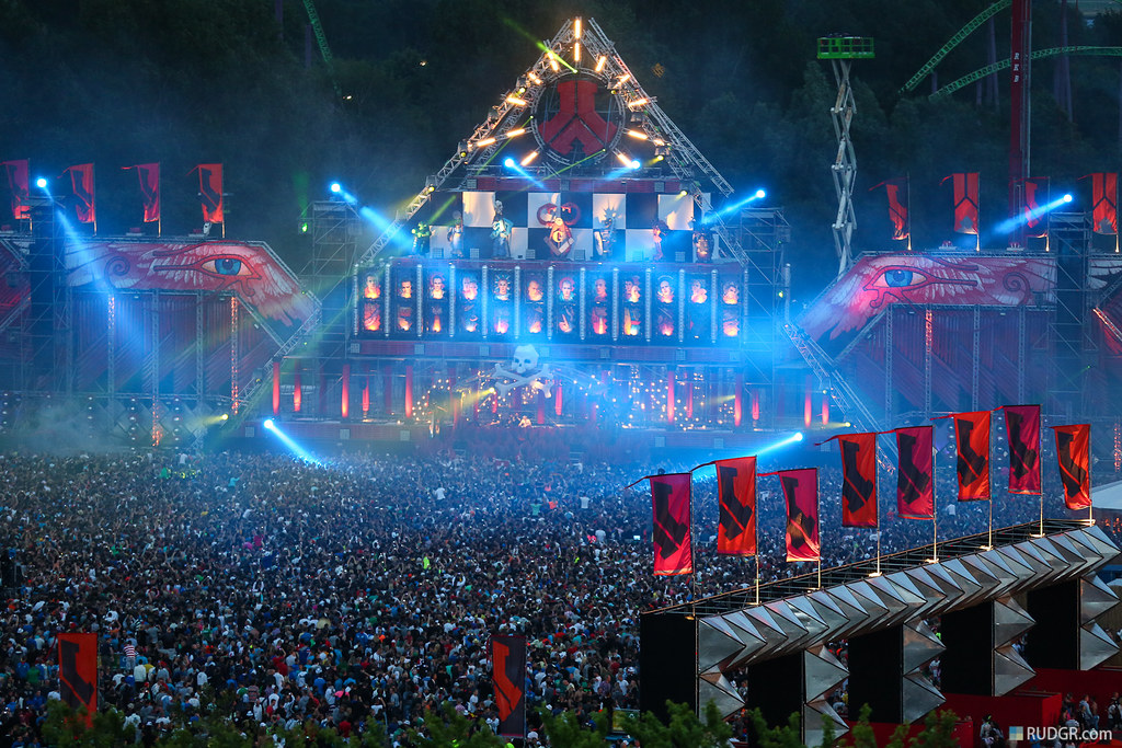 Defqon.1 RED mainstage at dusk from the heli