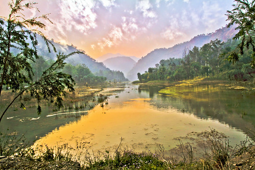 morning trees sky india lake mountains green nature yellow clouds sunrise canon landscape day hills hdr himachalpradesh renukalake