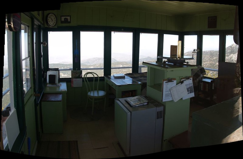 Interior view of the Tahquitz Peak Fire Lookout Tower