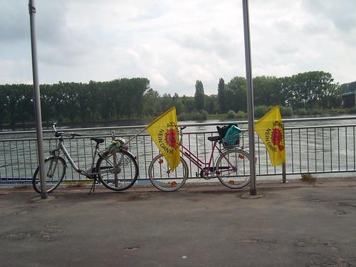 Rast mit Anti Atomfahne am Rhein