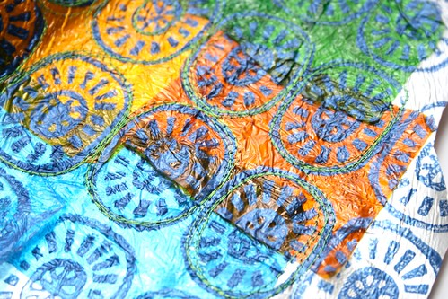 Sewing craft projects - block printing onto old fabric