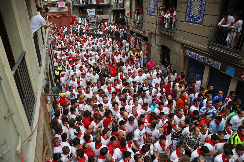 Getting into Position to Run with the Bulls During San Fermín Encierro