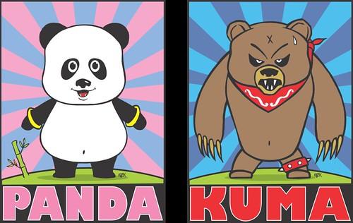 Frank Kozik Panda and Kuma lores