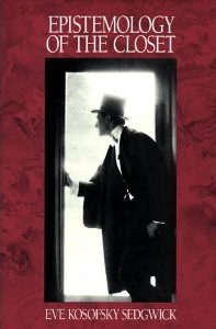 cover of eve sedgwick's epistemology of the closet, featuring a man wearing a hat opening a door on a red background