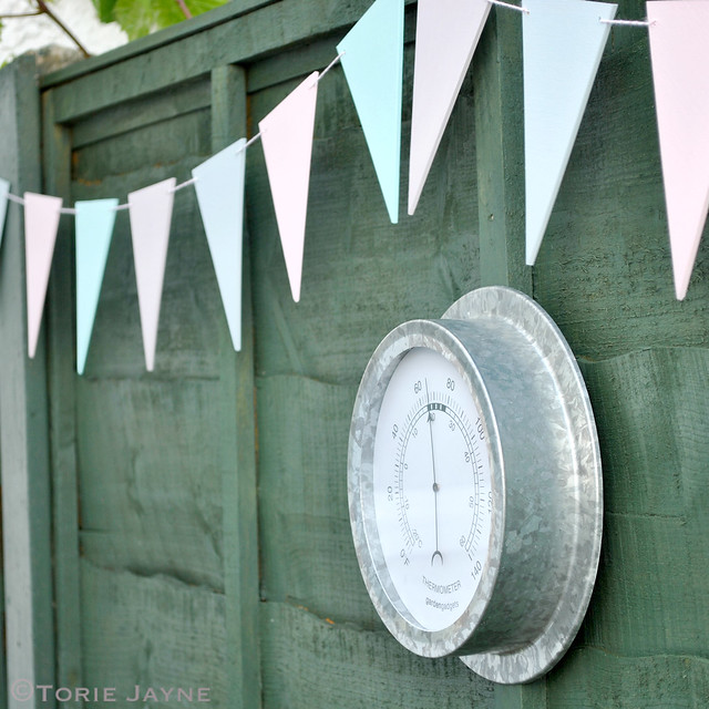 Pretty bunting hanging on my fence
