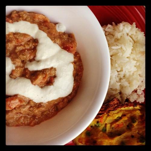 Dal Makhti (with cashew cream), samosa-stuffed potatoes, jasmine rice #vegan #yum