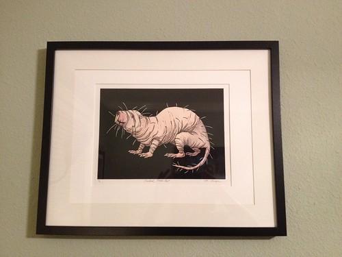 Naked mole rat lino print