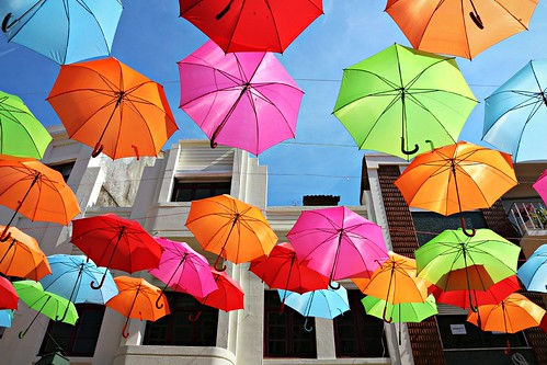 sky of umbrellas