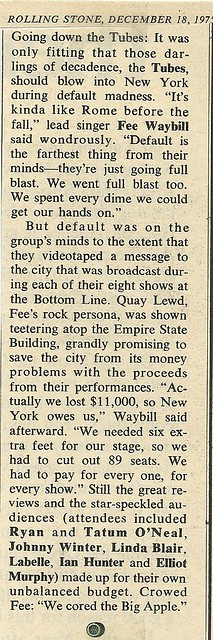 12/18/75 Rolling Stone Magazine (The Tubes in NYC)