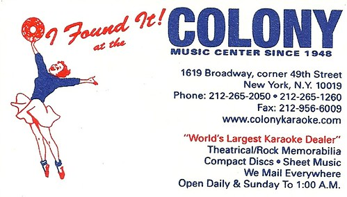 Colony Music Center (Business Card cira 2004)
