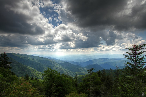 park blue summer sky clouds ridge national parkway cherokee smoky hdr