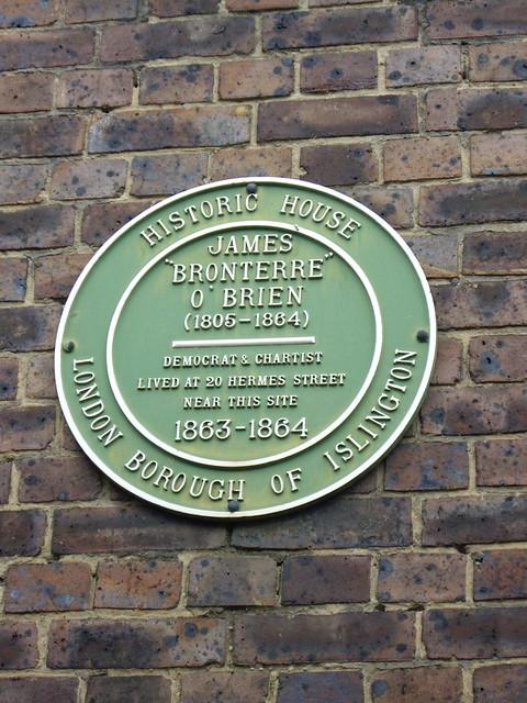 Photo of James Bronterre O'Brien green plaque