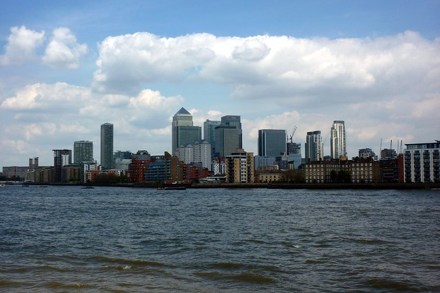 Canary Wharf seen from the Deptford viewing platform