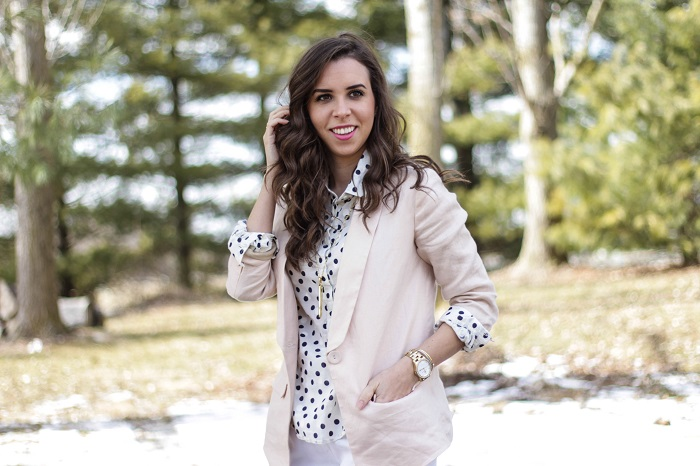 va darling. dc blogger. virginia personal style blogger. dc style.  polka dotted top. polka dotted tights. pink linen blazer. white shorts. black ankle booties. 8