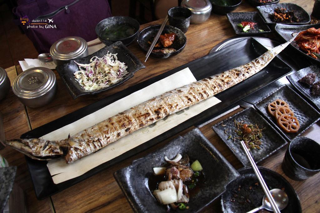 【濟州島景點】雲庭家土俗餐廳|愛玩客|很狂一條白帶魚 / 烤帶魚/鯖魚/青花魚 @GINA旅行生活開箱