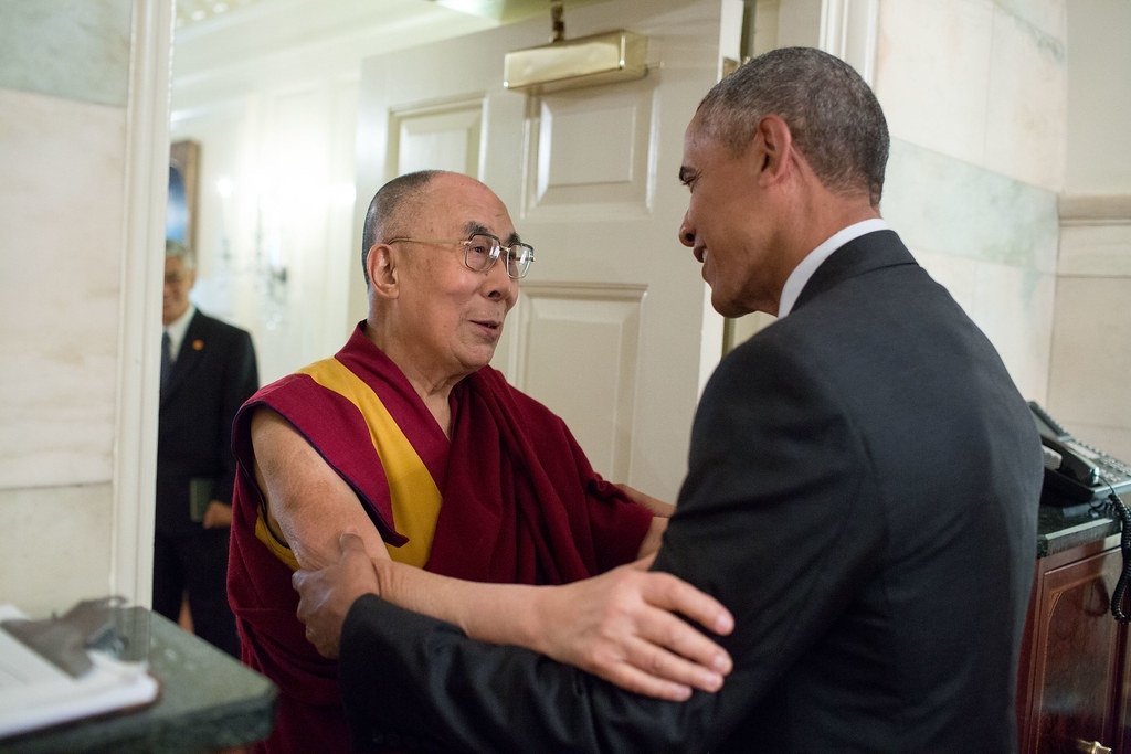 <p>President Barack Obama greets His Holiness the Dalai Lama at the entrance of the Map Room of the White House, June 15, 2016. (Official White House Photo by Pete Souza) <br /> <br /> This official White House photograph is being made available only for publication by news organizations and/or for personal use printing by the subject(s) of the photograph. The photograph may not be manipulated in any way and may not be used in commercial or political materials, advertisements, emails, products, promotions that in any way suggests approval or endorsement of the President, the First Family, or the White House.</p>