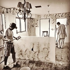 Kitchen remodel well underway. #kitchen #remodeling #drywall  #blackandwhitephotography #prisma