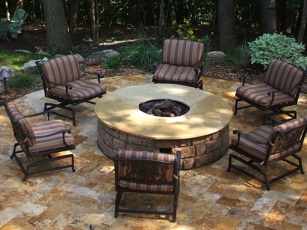 ... Gold Travertine Patio And Raised Anchor Highland Fire Pit With Custom  Cut Travertine Cap ...