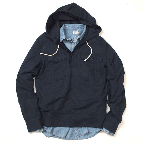J.Crew / Utility Fleece Hooded Pullover & Chambray Utility Shirt