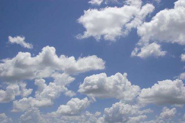 Puffy White Clouds, Blue Sky