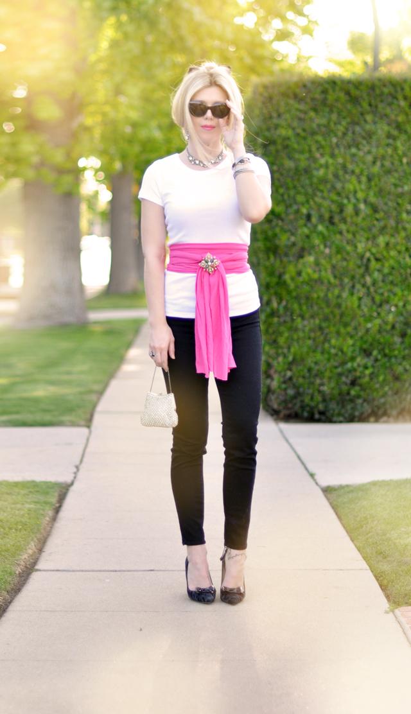 black jeans-white t - pink sash-50's glam