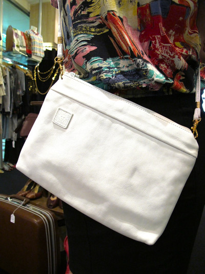 Anne Klein for Calderon 1980s white leather handbag.