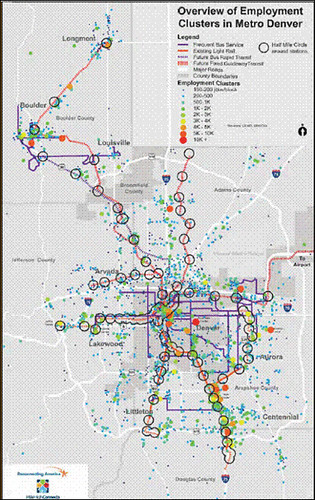 map of employment locations in Denver (via Denver Reg Equity Atlas)