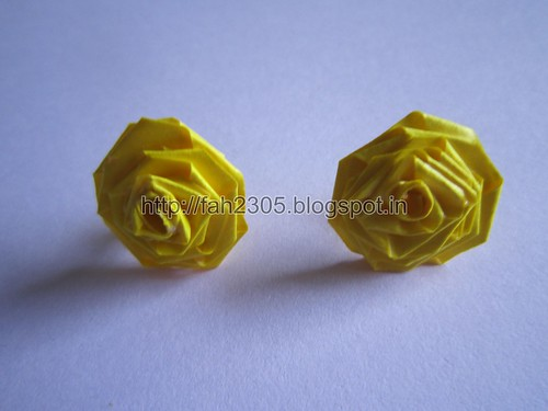 Handmade Jewelry - Paper Rose Earrings (Light Blue) (3) by fah2305