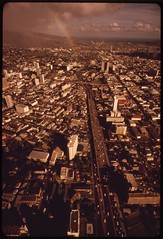 Looking east on H-1 Freeway in downtown Honolulu, October 1973