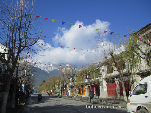 street of Dali China and Mtns