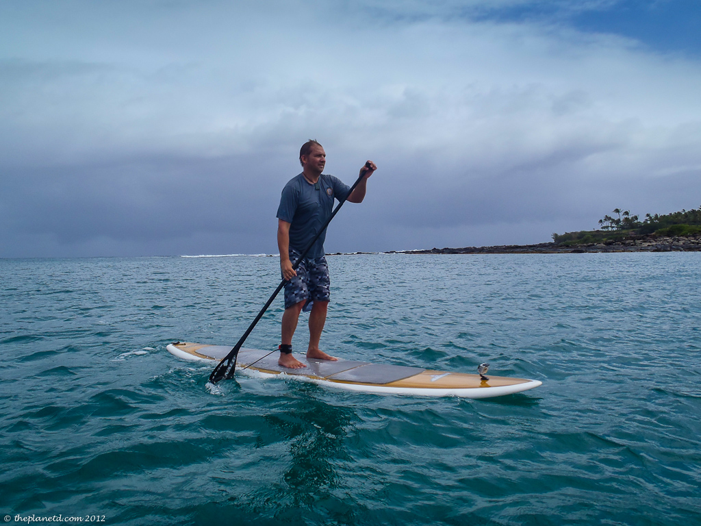 adventure traveler Dave paddle boards in Maui