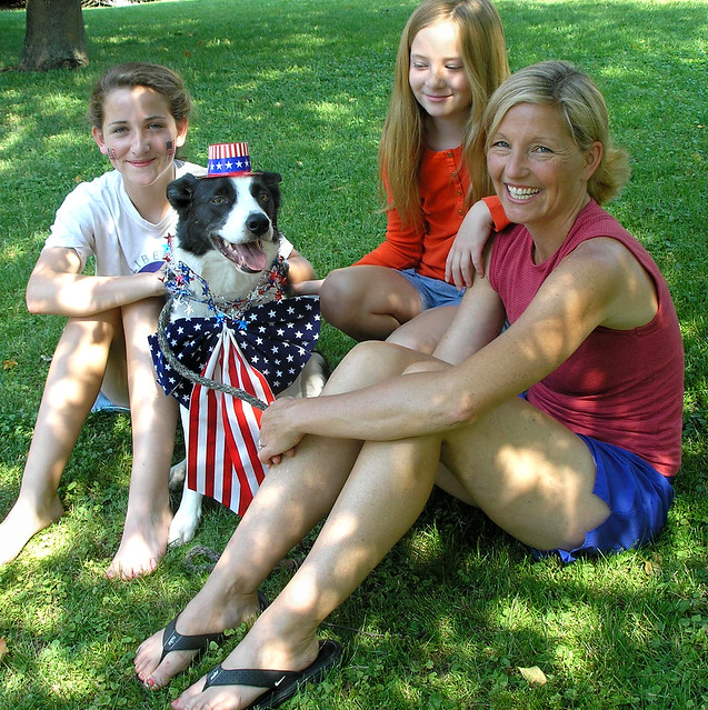 Their family dog wears a patriotic hat