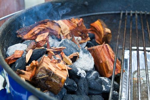 Wood Chunks on Coals