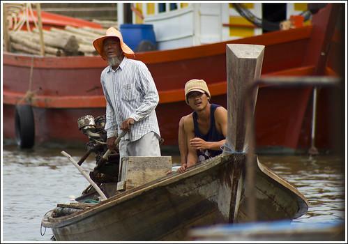 Longtail boat approaching Bang Rong, Phuket