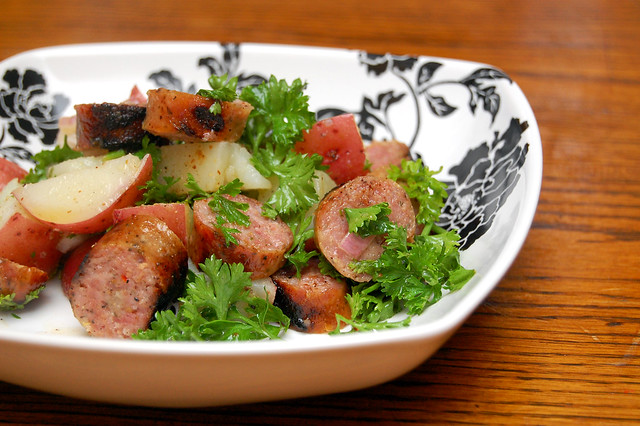 Potato and sausage salad