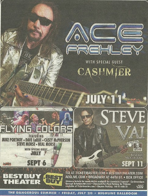07/11/12 Ace Frehley/ Cashmier @ Best Buy Theatre, NYC, NY