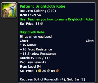 Pattern: Brightcloth Robe - Item - World of Warcraft
