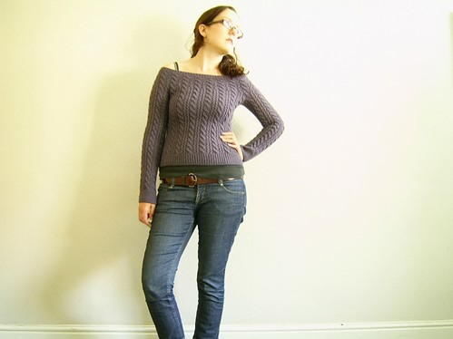 lace and cable jumper: front