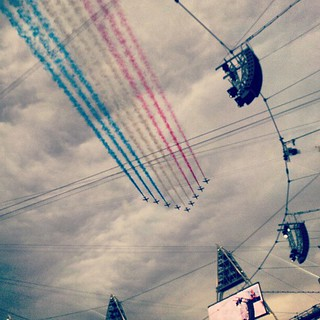The Red Arrows provided a joyous pre live TV fly at the Olympic Opening Ceremony.