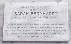 Photo of Sarah Bernhardt white plaque