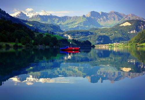 summer lake mountains reflection nature switzerland 2012 lungern