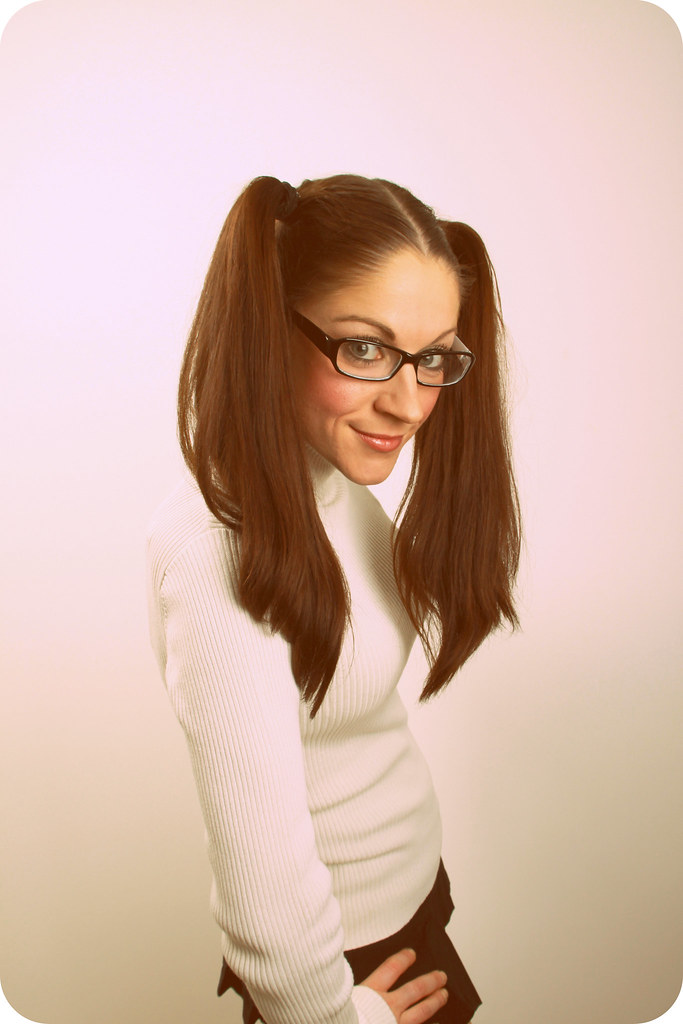 pigtails glasses and girl Hot with