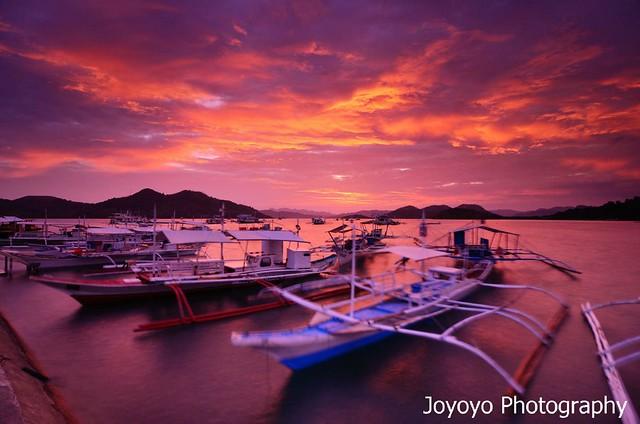 日落火燒雲 菲律賓科隆島