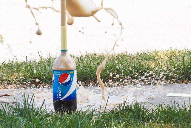 Diet Soda & Mentos Explosion via The Risky Kids