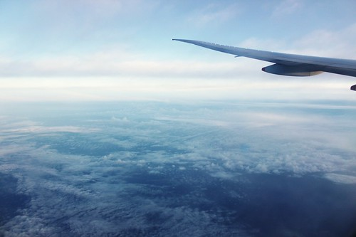 The early morning of GMT+9 Japan, as seen from the airplane window.