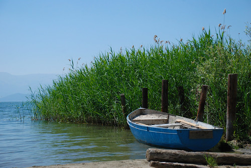 summer lake nature landscape coast boat view macedonia prespa