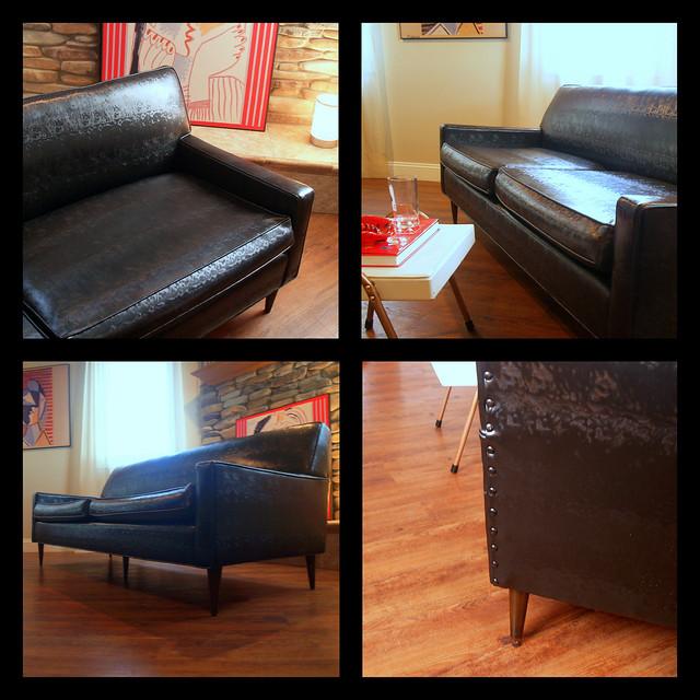 Vintage Midcentury Modern Sofa Fabulous Black Faux Leather
