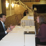 Rick Chang of MB Financial Bank interviewing a student --