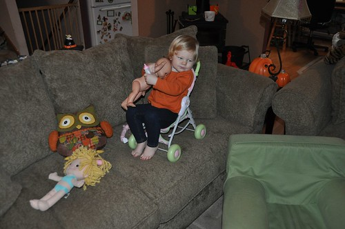 Sitting on the couch in a stroller