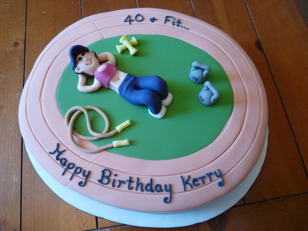 Fitness Fanatic Birthday Cake Oval Layered Sponge Cake Wit Flickr
